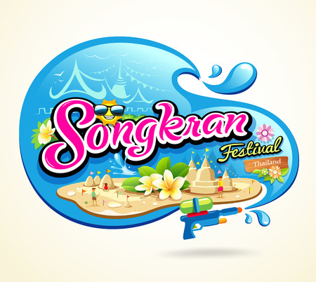 water logo: Songkran Festival summer of Thailand