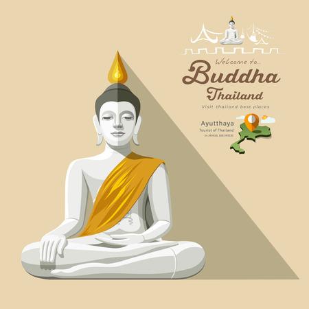thai buddha: White Buddha and yellow robe of Thailand