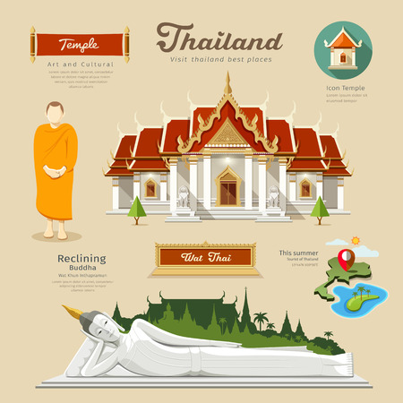 thailand symbol: Temple and reclining Buddha with monk and temple