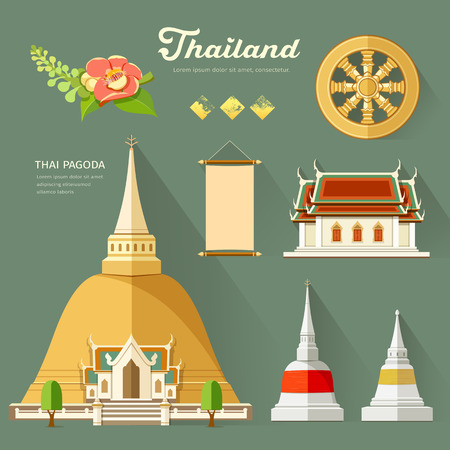 Thai Pagoda with temple collections of thailand Vector