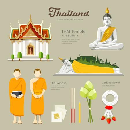 Thai Buddha and Temple with monks in thailand Vector