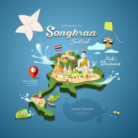 festival vector: Songkran Festival in Thailand with kite pagoda sand Illustration