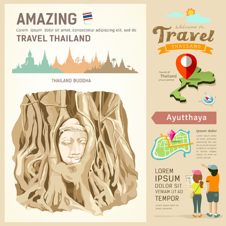 Amazing thailand, The roots around the head of Buddha Image Vector