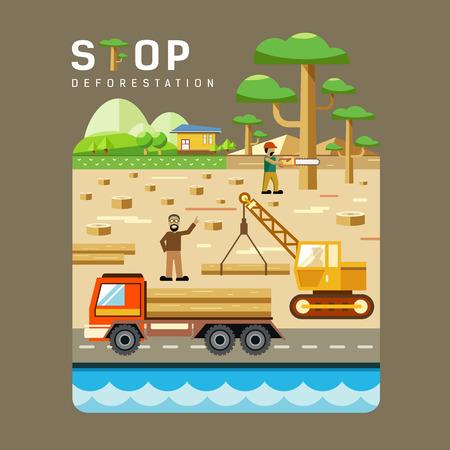 deforestacion: Conceptos de deforestación diseño plano de fondo. vector