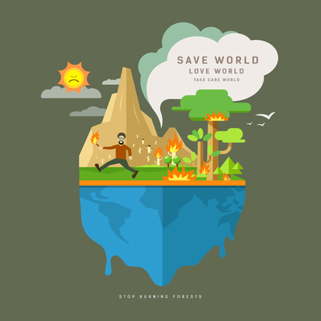 Stop Burning forests on globe, flat concept design Vector