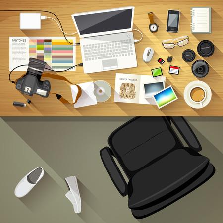 Fotógrafo escritorio Designer, Vista desde arriba de fondo de escritorio