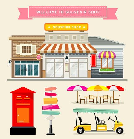 retail shop: Vector Souvenir shop collections concepts design