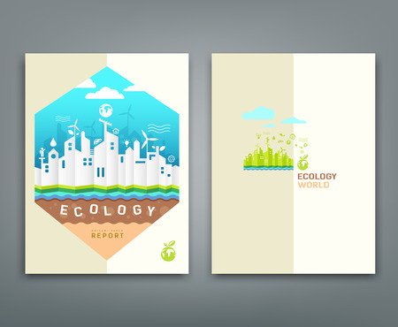 Cover annual report origami building ecology concept Vector
