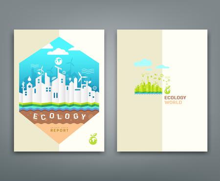 informe: Cubra informe anual edificio origami concepto de la ecolog�a