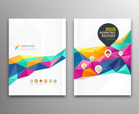 profil: Raport pokrywa kolorowe trójkątne kształty geometryczne