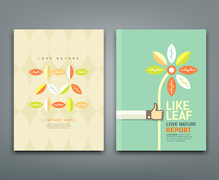 flat leaf: Cover annual report colorful leaf with flower in hand