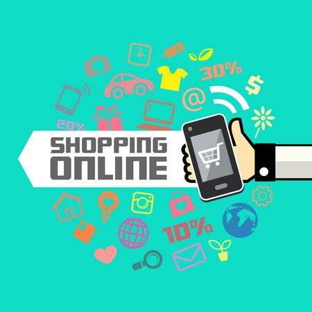 Mobile in human hand, online shopping Vector