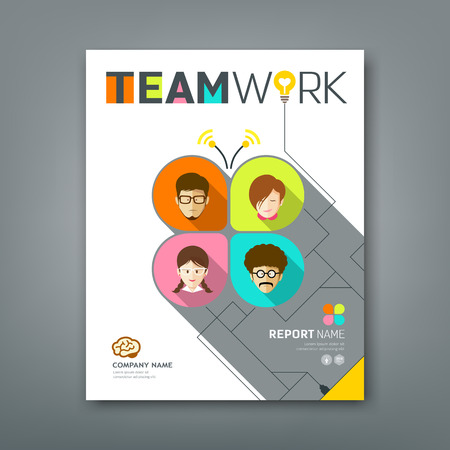 poster concepts: Cover annual reports colorful teamwork concept