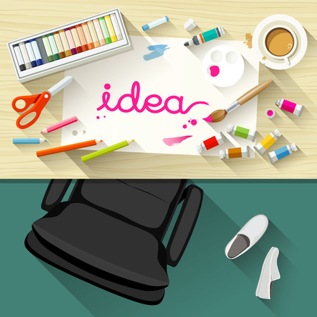 Designer desk artist collections of flat design Vector
