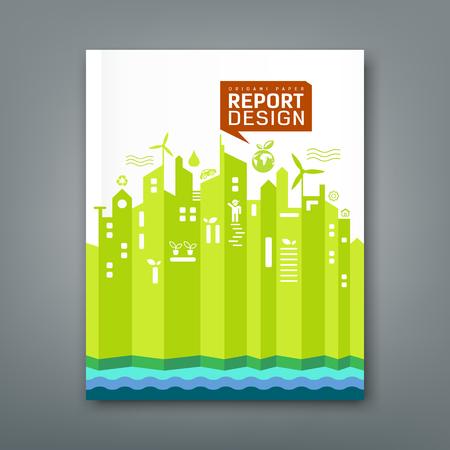 年次報告書環境折り紙紙デザイン  イラスト・ベクター素材