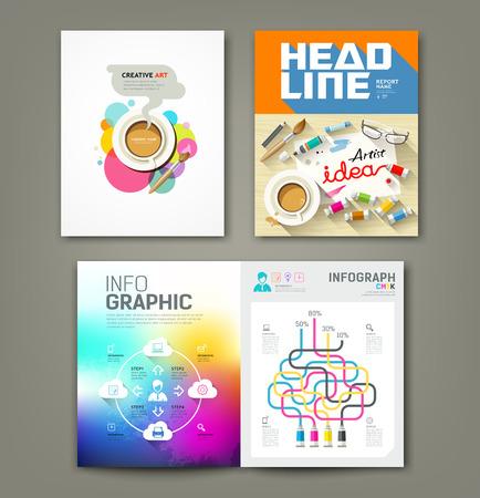 Annual report cover desk artist idea concepts Vector