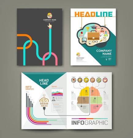 Annual report brain concepts infographic template design background