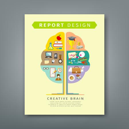 annual report: Annual report brain concepts colorful tree shape