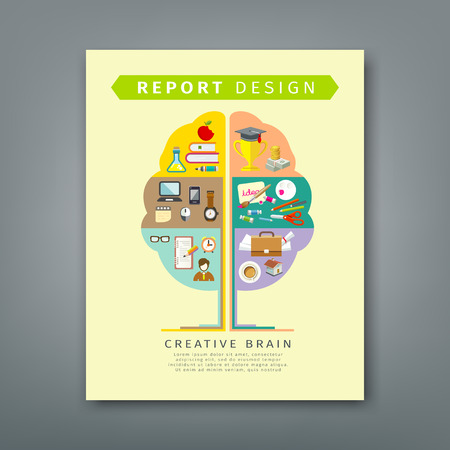 Annual report brain concepts colorful tree shape