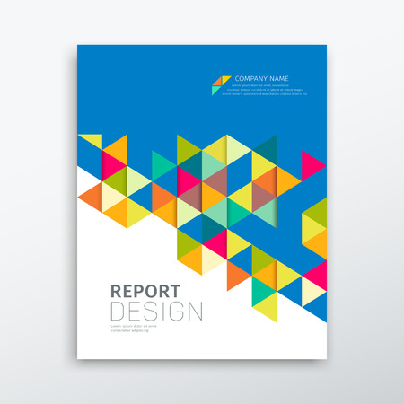Cover annual report colorful triangles geometric design Vettoriali