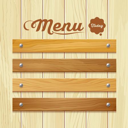 restaurante: Menu de placa de madeira de fundo ilustra
