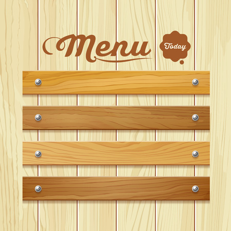 wood room: Menu wood board design background vector illustration Illustration
