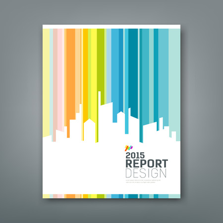 Cover Annual report silhouette building colorful background Vector