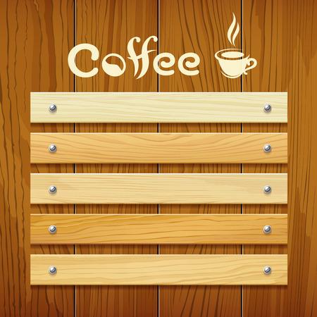 Koffie menu houten bord ontwerp achtergrond Stock Illustratie