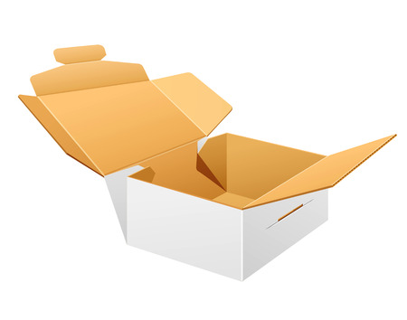 caja blanca: Open parcel boxes, empty brown and white box design
