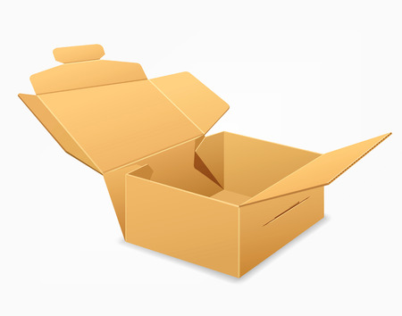 brown box: Open parcel boxes, empty brown box design background