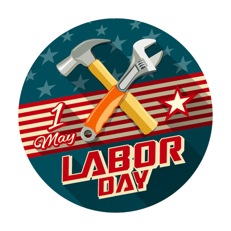 Labor day with work tools construction concept design