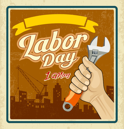 labour: Work tools construction in human hand in Labor day