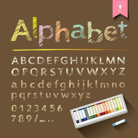 education concept: Hand drawn sketch alphabet and numbers with pastel color box design