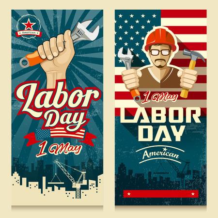 幸せな労働者の日アメリカ バナー コレクション