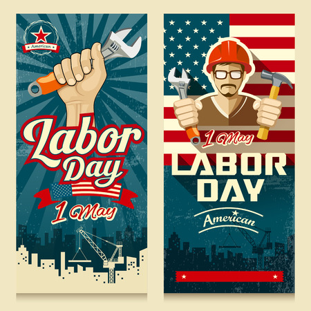 labour: Happy Labor day american banner collections