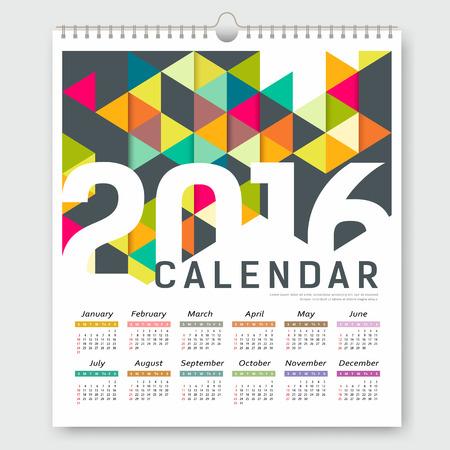 calendario: Calendario 2016, colorido triángulo de diseño de plantilla geométrica