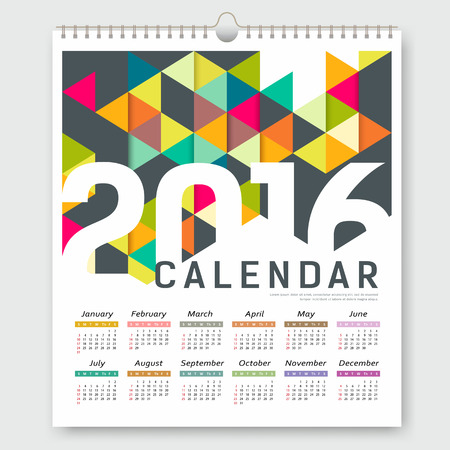 calendrier: Calendrier 2016, triangle coloré modèle de conception géométrique Illustration