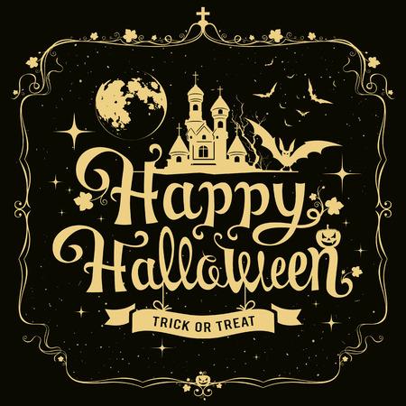 Happy Halloween message silhouette design Ilustração