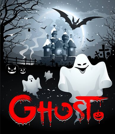 ghost: Happy Halloween ghost and red message on full moon