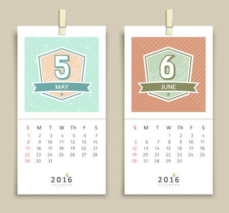 june: May and June Calendar 2016 design