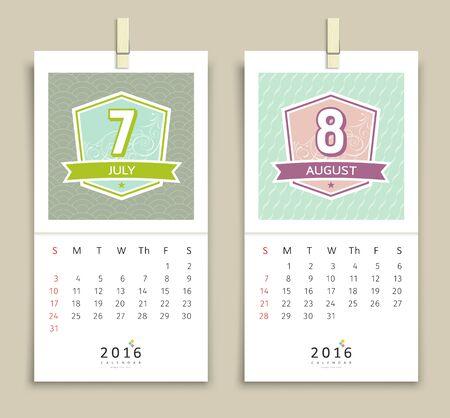 august calendar: July and August Calendar 2016 design Vectores
