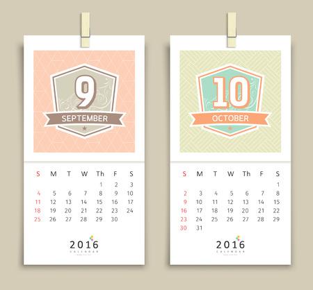 october calendar: Septiembre y octubre de 2016 Calendario de diseño