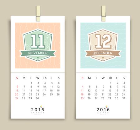 december calendar: Novembre e dicembre 2016 Calendario di progettazione Vettoriali