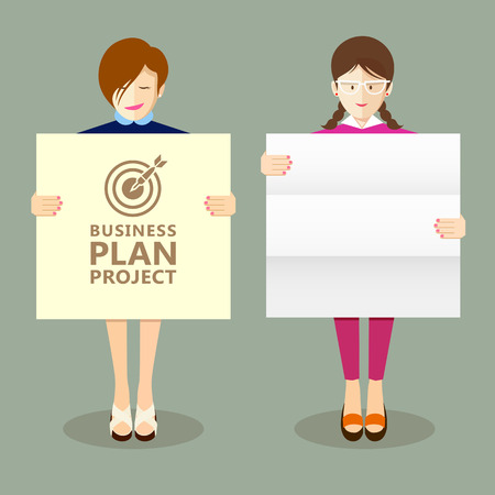 project plan: Business woman holding presentation project plan collections Illustration