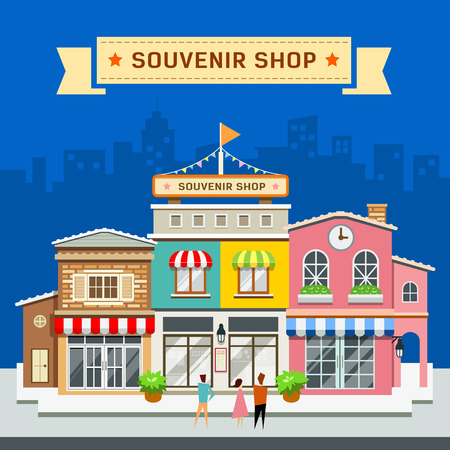 souvenir: Souvenir shop on blue background vector