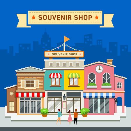 Souvenir shop on blue background vector