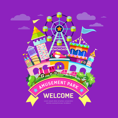 travel destination: Vector Amusement park flat concept design