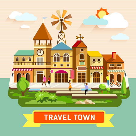 where: Vector Travel town vintage building where shopping colorful background