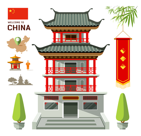 china art: Vector Building of China travel design Illustration