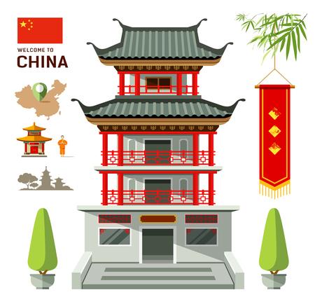 china wall: Vector Edificio de diseño de viajes de China
